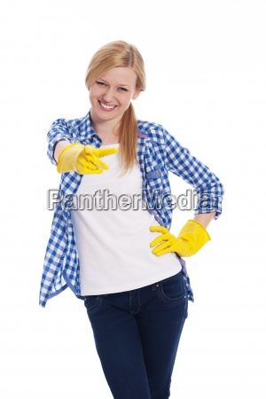 female cleaner pointing finger at camera