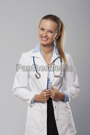 portrait of beautiful young female doctor