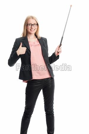 businesswoman with pointer