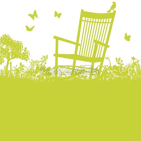 cadeira de balanco no jardim
