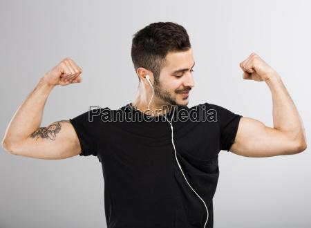 happy man listen music