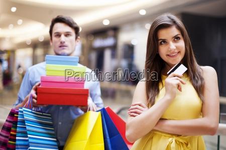 portrait of a beautiful female shopaholic