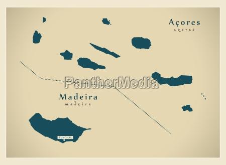 modern mapa acores madeira