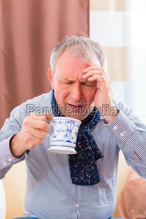 chá, bebendo, sênior, e, cura, do - 12558906