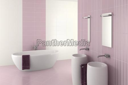 banheiro moderno roxo com bacia e