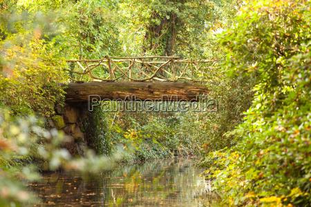 old wooden bridge at pond