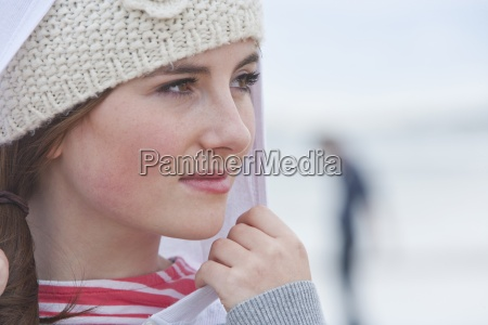 close up portrait of pensive teenage