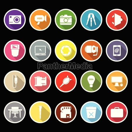 photography related item flat icons with