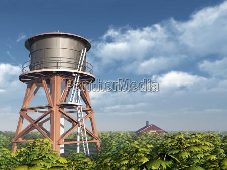 torre de agua e fazenda