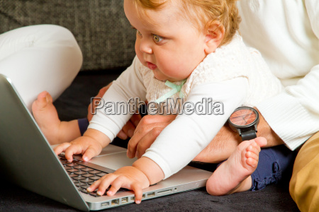 baby on laptop
