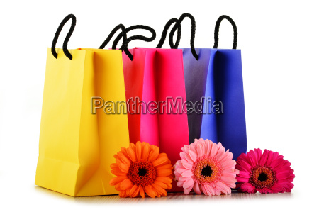 sacos de compra de papel coloridos