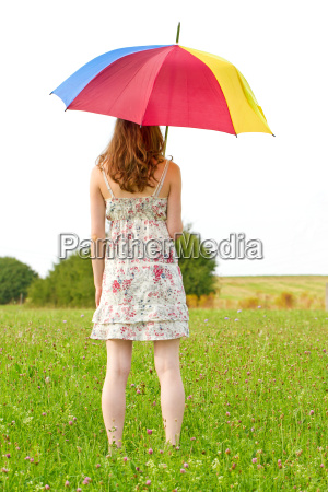 young woman in summer with colorful