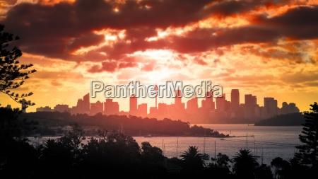 por do sol sobre sydney
