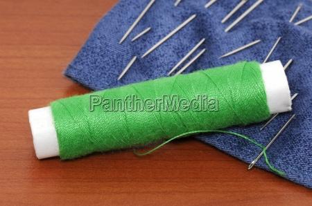 verde fio agulhas agulha costurar topicos