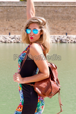 young woman on vacation in mallorca