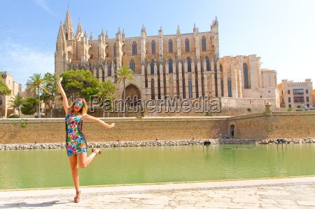 young happy woman in mallorca