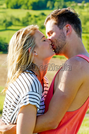 young happy couple kissing