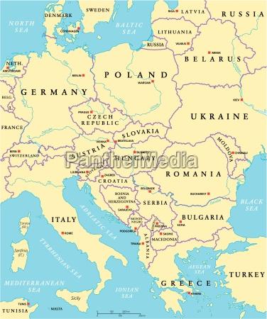 mapa politico da europa central
