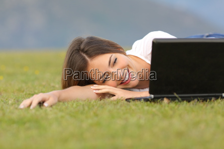 happy woman watching videos in a