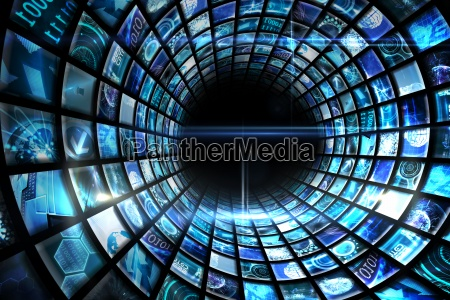 vortex de telas digitais no azul