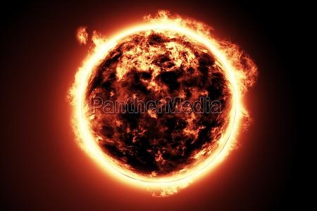 grande bola de fogo do sol
