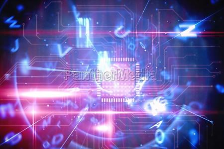 interface de tecnologia azul e vermelha