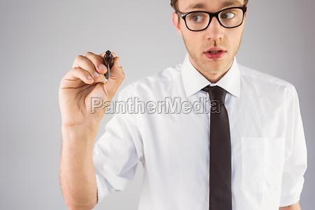empresario geeky escrito com marcador