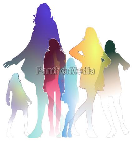 cores da forma das mulheres