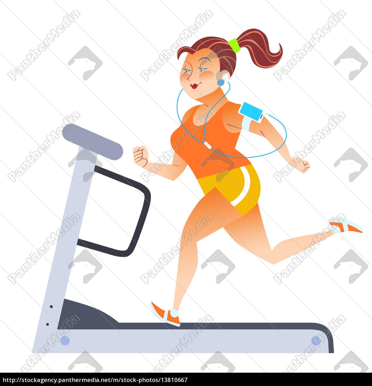 mulher, gorda, na, escada, rolante, estacionária - 13810667
