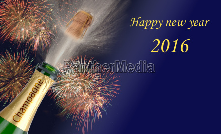 ano novo 2016 com champanhe rolhas