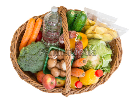 cesta de compra com alimentos frutas