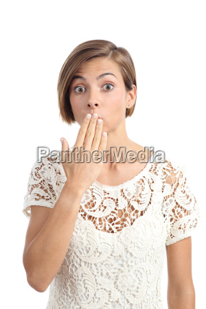 woman in trouble gesturing oops with