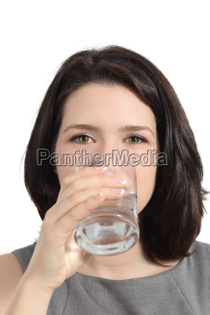 pretty woman drinking water from a