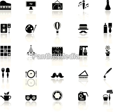 art activity icons with reflect on