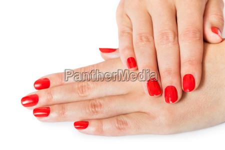 maos da mulher com belos dedos