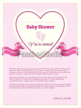 pink baby shower invitation med tekst