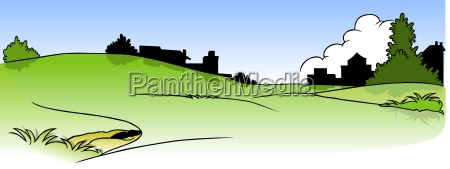 paisagem e silhueta das casas