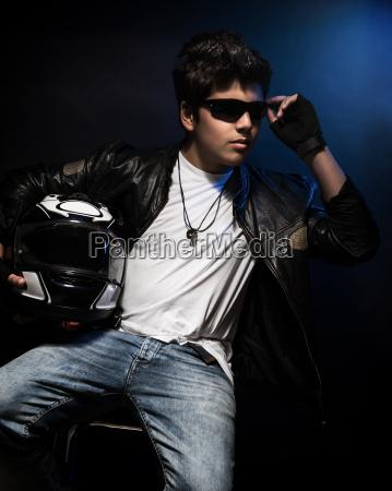 stylish teen boy biker
