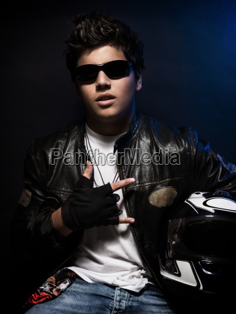 stylish teen biker