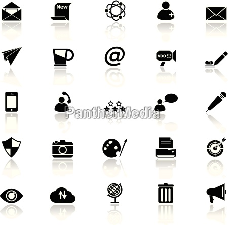 message and email icons with reflect