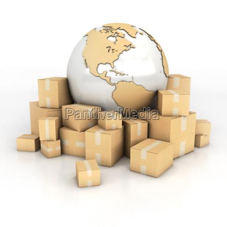 terra e caixas em textura do