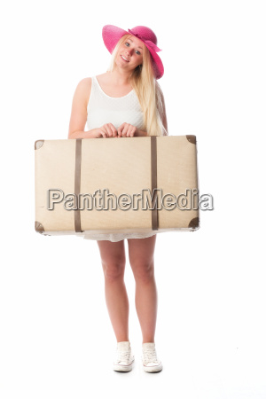 blond girl wearing a suitcase