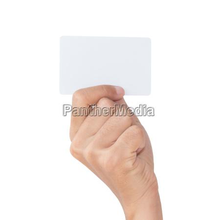 mão, segurar, cartão, branco, em, branco - 14316489