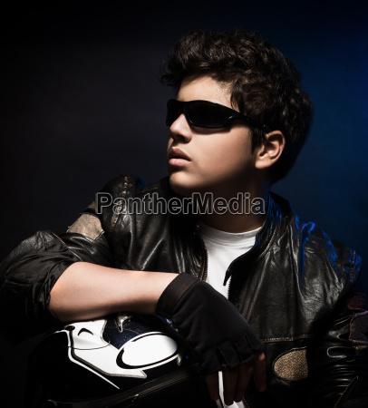 stylish biker portrait
