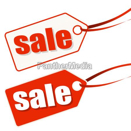 venda branco vermelho hangtag