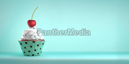 cupcake delicioso coberta com uma cereja