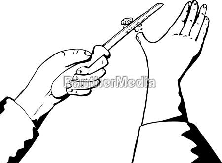 esboco do polegar e da faca