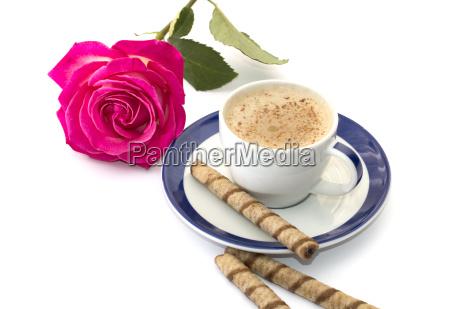 rosa e cappuccino em um saucer