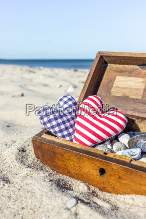 wooden box with stones shells and
