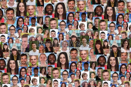sfondo collage giovani persone grande gruppo